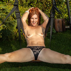 Nude Redhead On A Swing - Firm Tits, Redhead, Spread Legs, Sexy Legs, Sexy Panties