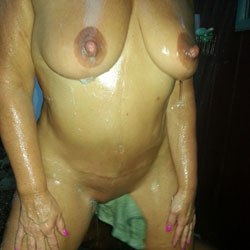 Outside Shower With Boy Toy  - Big Tits