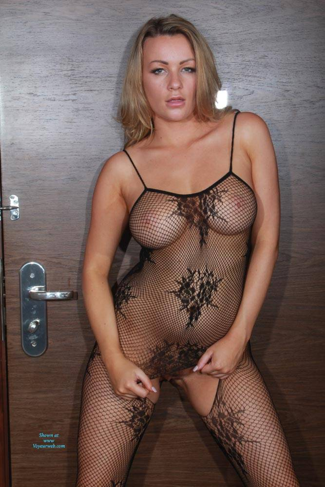 Bodystocking Strip - Big Tits, Sexy Lingerie , Blonde, Model, Nude, Big Tits