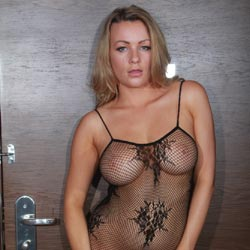Blonde In Fishnet Body Stocking - Big Tits, Blonde Hair, Shaved Pussy, Showing Tits, Strip, Sexy Girl, Sexy Legs, Sexy Lingerie