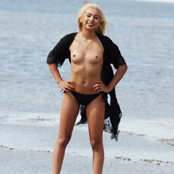 Beauty At The Beach - Beach, Naked Blonde, Body Piercings, Shaved