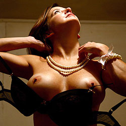 Showing Tits Wearing With Pearls - Big Tits, Brunette Hair, Erect Nipples, Nipples, Perfect Tits