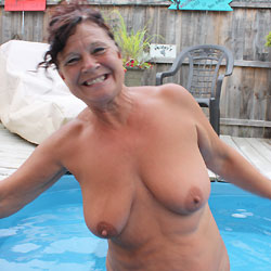 Out For A Nude Swim - Big Tits, Brunette