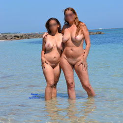 Two Cougars At The Beach - Beach, Big Tits
