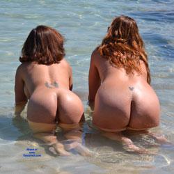 Two Cougar Asses - Beach, Redhead