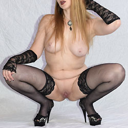 Lace Platform Heels And Black Stockings - Big Tits, Heels, Shaved, Sexy Lingerie
