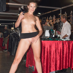 Bri On Erotic Fair - Exposed In Public, Long Legs, Nude In Public, Shaved