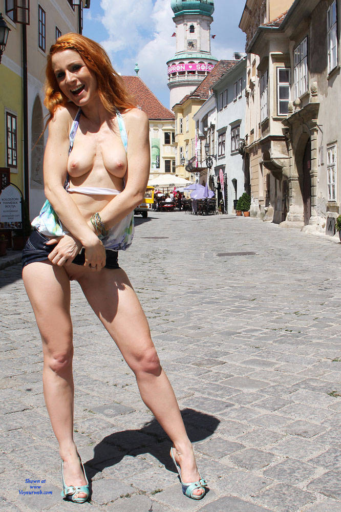 Pic #4 Vienna - Hungarian Summer - Redhead, Public Place, Public Exhibitionist, Flashing, Shaved