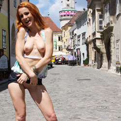 Vienna - Hungarian Summer - Redhead, Public Place, Public Exhibitionist, Flashing, Shaved