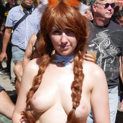 Showing Tits In Public - Big Tits, Brown Hair, Long Hair, Nude In Public, Topless Girl, Sexy Girl