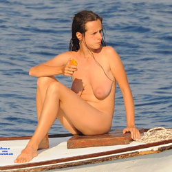 Naked On Boat At The Sea - Big Tits, Brunette Hair, Firm Tits, Hanging Tits, Nude In Nature, Nude Outdoors, Sexy Legs , Outdoors, Water, Boat, Naked, Tits