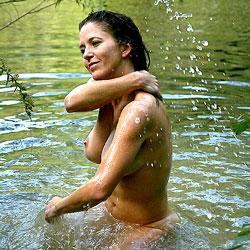 Pond Swim And Hose Wash - Big Tits, Brunette, Nature, Outdoors