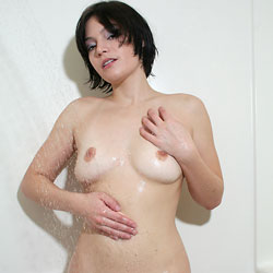 Shower And Soap - Big Tits, Brunette Hair, Hairy Bush