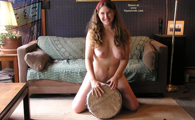 Pic #1 - Large Breasts - Brunette Hair, Full Nude, Large Breasts, Long Hair, Smiling , Large Breasts, Long Brunette Hair, Girl Kneeling In Living Room, Fully Nude, Long Hair, Hippie Milf Straddling Drum  Smiling, Cute Nudist