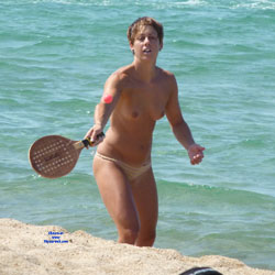 Nude In The Beach With A Racket - Big Tits, Erect Nipples, Nipples, Nude Beach, Nude Outdoors, Perfect Tits, Short Hair, Water, Beach Tits, Beach Voyeur, Sexy Legs