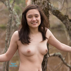Nude At The River - Body Piercings, Brunette, Nature, Outdoors, Asian