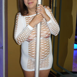 Stripper Pole - See Through, Brunette, Big Tits, Wife/Wives