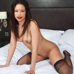 Red Lips Nat Naked On Bed - Bed, Brunette Hair, Erect Nipples, Nipples, Perfect Tits, Shaved Pussy, Sexy Legs, Sexy Lingerie