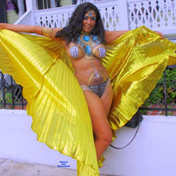 Painted Body In Fantasy Costume - Big Tits, Black Hair, Nude In Public, Nude Outdoors, Costume