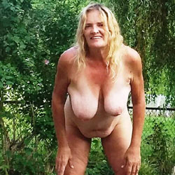 Backyard - Outdoors, Mature, Blonde, Big Tits, Wife/Wives