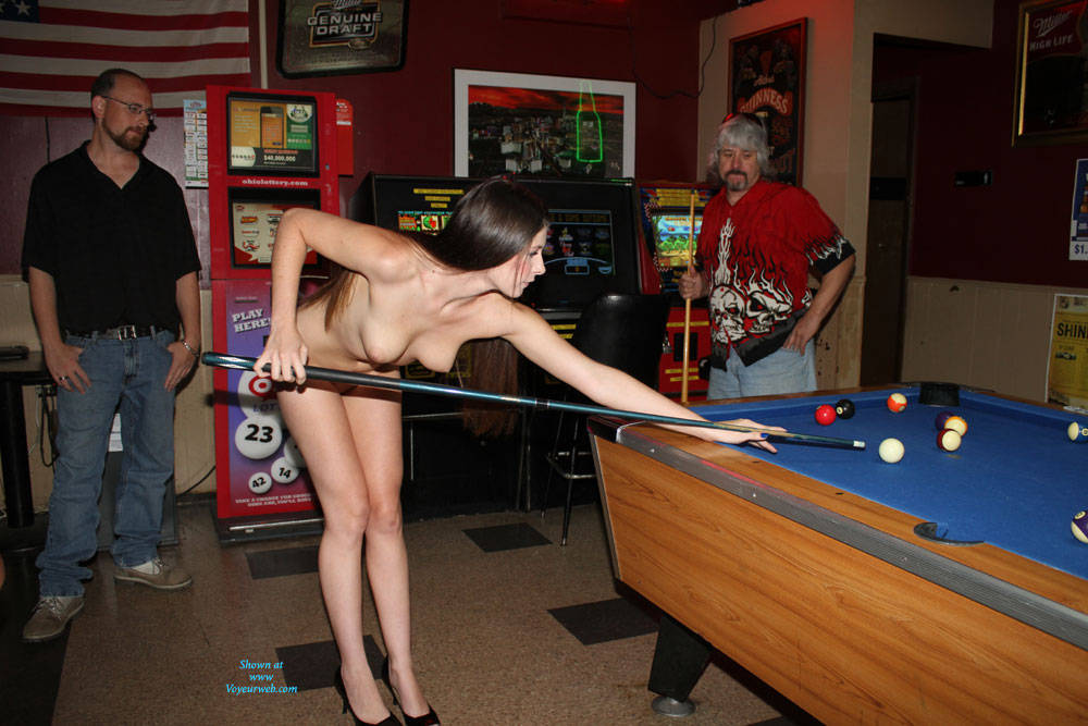 Naked Lady Walks Into A Bar - Brunette Hair, Exposed In Public, Heels, Nude In Public, Shaved , Nude, Naked, Public, Tits