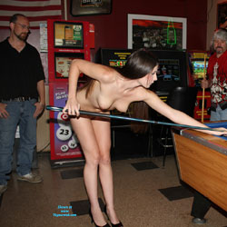 Naked Brunette In Heels Playing Pool - Brunette Hair, Erect Nipples, Exposed In Public, Heels, Long Hair, Nipples, Nude In Public, Perfect Tits, Sexy Body, Sexy Girl, Sexy Legs