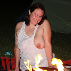Backyard With Camp Fire - Big Tits, Brunette, Outdoors, Wife/Wives