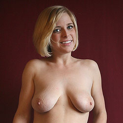 Out Of Her Sweater And Jeans - Big Tits, Blonde Hair, Shaved, Strip