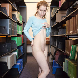Flashing In Library - Public Exhibitionist, Public Place