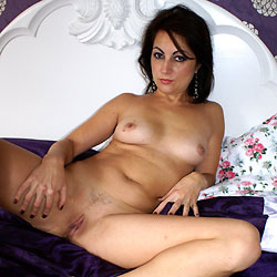 Naked Anna On Her Bed - Bed, Brunette Hair, Close Up, Erect Nipples, Full Nude, Nipples, Pussy Lips, Shaved Pussy, Spread Legs, Sexy Legs