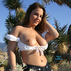 Daisy Dukes Showing Tits In Nature - Big Tits, Hairy Bush, Nude In Public, Nude Outdoors, Perfect Tits, Sexy Legs, Costume