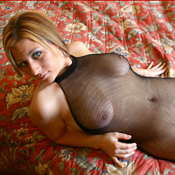 Fishnets On The Bed - Big Tits, Lingerie, Shaved, Close-Ups