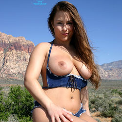 Nude Outdoor Wearing Blue Jean Shorts Set - Big Tits, Brown Hair, Nude In Nature, Nude Outdoors, Sexy Body, Sexy Boobs, Sexy Legs