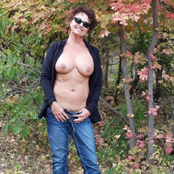 Posing In The Leaves - Big Tits, Brunette, Outdoors, Nature