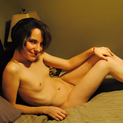 Short Hair Nude on Bed - Bed, Brunette Hair, Erect Nipples, Nipples, Small Tits, Sexy Body, Sexy Legs