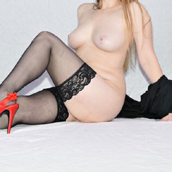 Black Stockings And Red Stilettos - Big Tits, Heels, Shaved, Sexy Lingerie, Wife/Wives