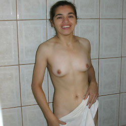 In The Shower - Brunette, Small Tits, Bush Or Hairy