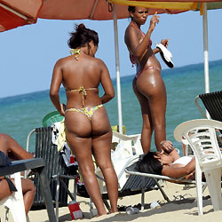 Asses From Recife City, Brazil 4884 - Brunette, Outdoors, Bikini Voyeur, Beach Voyeur
