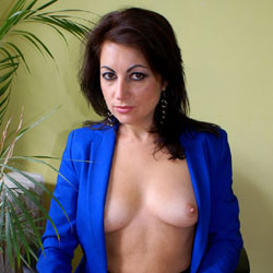 Nude Anna Wearing Blue Jacket and Black Shirt - Big Tits, Brunette Hair, Chair, Firm Tits, Nipples, Trimmed Pussy, Sexy Body , Anna, Nude, Naked, Trimmed Pussy, Tits, Sitting