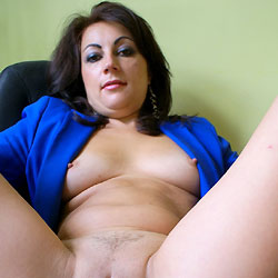 Anna (38) Blue Jacket, Black Shirt - Big Tits, Brunette, Shaved, Close-Ups