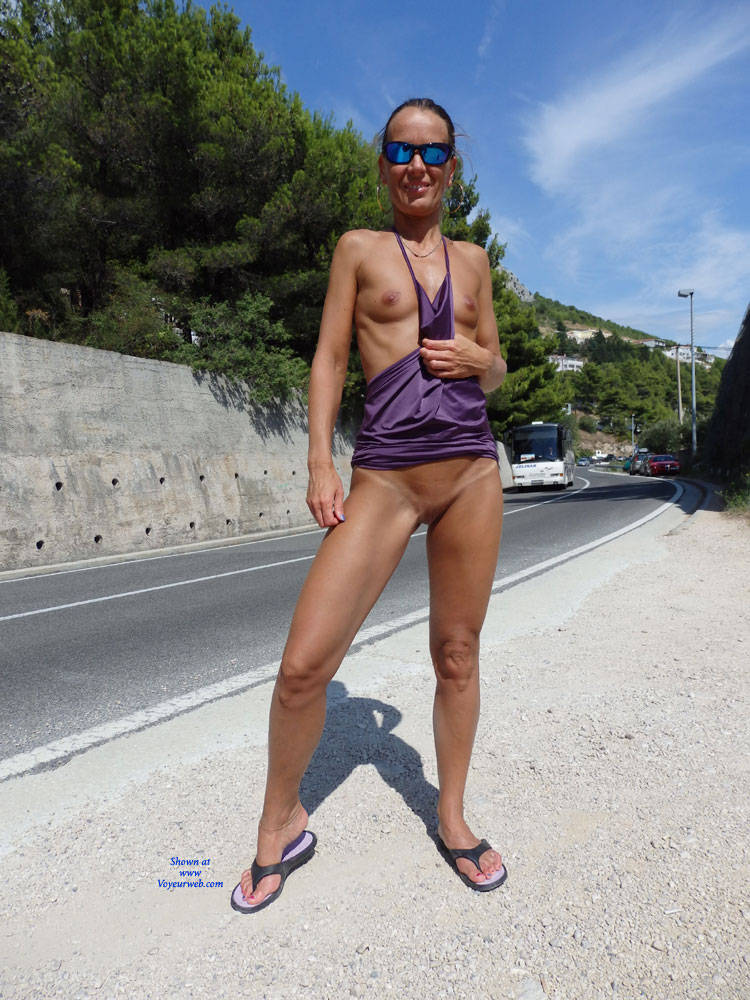 Pic #1 Mimice - Public Exhibitionist, Flashing, Outdoors, Public Place, Small Tits, Shaved, Firm Ass