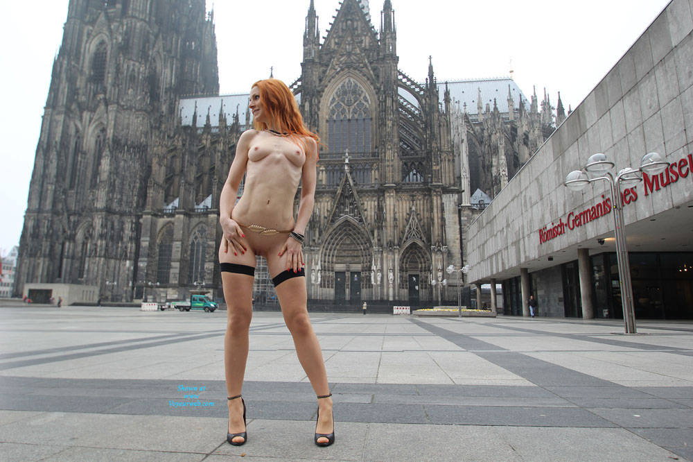 Pic #1 Vienna - Nude In Cologne  - Public Exhibitionist, Flashing, High Heels Amateurs, Public Place, Redhead, Shaved
