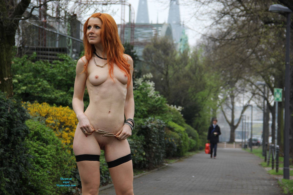 Pic #5 Vienna - Nude In Cologne  - Public Exhibitionist, Flashing, High Heels Amateurs, Public Place, Redhead, Shaved