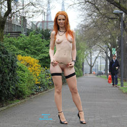 Vienna - Nude In Cologne  - Public Exhibitionist, Flashing, High Heels Amateurs, Public Place, Redhead, Shaved