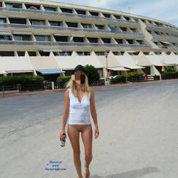 Pic #1 Enjoying Naked Pussy Around The Town - Big Tits, Blonde, Public Exhibitionist, Flashing, Public Place, Wife/wives, Shaved