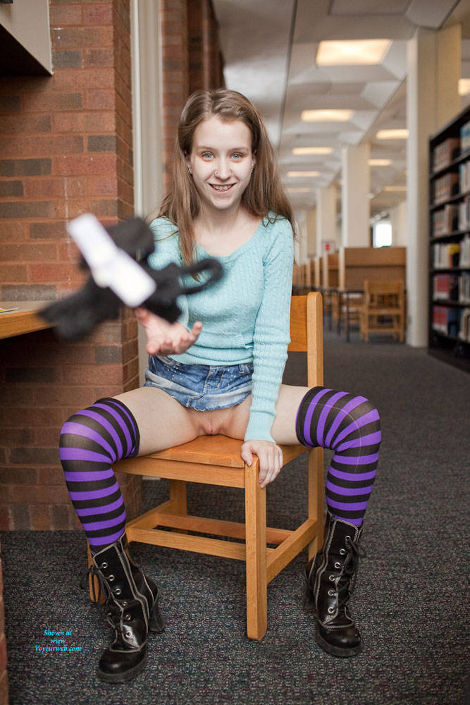 Pic #9 More Flashing In Library - Public Exhibitionist, Flashing, Public Place, Young Woman
