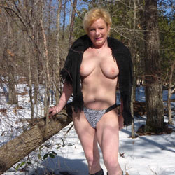 Pantie Pose in a Snow Wearing Boots - Big Tits, Blonde Hair, Boots, Erect Nipples, Firm Tits, Nude In Nature, Nude In Public, Nude Outdoors
