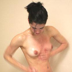 Showering Fun - Brunette, Bush Or Hairy, Medium Tits