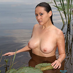 Nude at Lakeside Lilly Pads - Asian Girl, Big Tits, Brunette Hair, Long Hair, Nude In Nature, Nude In Public, Nude Outdoors, Showing Tits, Topless