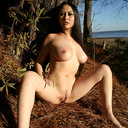 Showing Pussy under a Pine Tree - Asian Girl, Big Tits, Brunette Hair, Firm Tits, Full Nude, Long Hair, Nude In Nature, Nude In Public, Nude Outdoors, Pussy Lips, Shaved Pussy, Sexy Body
